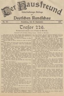 Der Hausfreund : Unterhaltungs-Beilage zur Deutschen Rundschau. 1935, Nr. 223 (28 September)