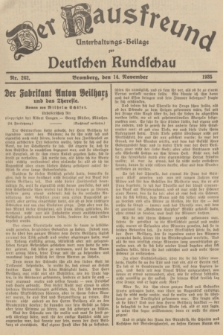Der Hausfreund : Unterhaltungs-Beilage zur Deutschen Rundschau. 1935, Nr. 262 (14 November)