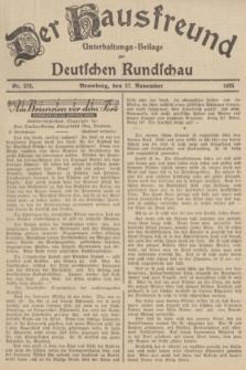 Der Hausfreund : Unterhaltungs-Beilage zur Deutschen Rundschau. 1935, Nr. 273 (27 November)