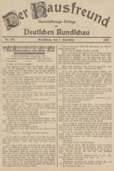 Der Hausfreund : Unterhaltungs-Beilage zur Deutschen Rundschau. 1935, Nr. 278 (3 Dezember)