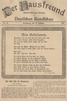 Der Hausfreund : Unterhaltungs-Beilage zur Deutschen Rundschau. 1937, Nr. 42 (21 Februar)