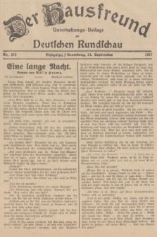 Der Hausfreund : Unterhaltungs-Beilage zur Deutschen Rundschau. 1937, Nr. 219 (24 September)