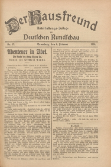 Der Hausfreund : Unterhaltungs-Beilage zur Deutschen Rundschau. 1928, Nr. 27 (4 Februar)