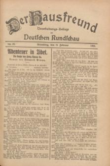 Der Hausfreund : Unterhaltungs-Beilage zur Deutschen Rundschau. 1928, Nr. 34 (15 Februar)