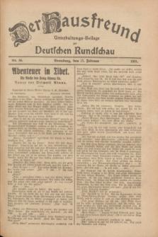 Der Hausfreund : Unterhaltungs-Beilage zur Deutschen Rundschau. 1928, Nr. 36 (17 Februar)