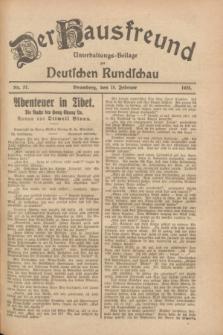 Der Hausfreund : Unterhaltungs-Beilage zur Deutschen Rundschau. 1928, Nr. 37 (18 Februar)