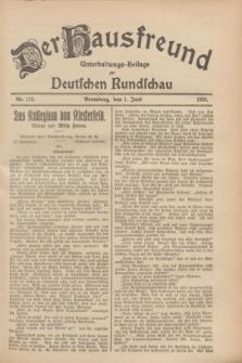 Der Hausfreund : Unterhaltungs-Beilage zur Deutschen Rundschau. 1928, Nr. 113 (1 Juni)