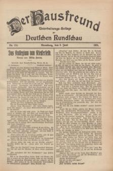 Der Hausfreund : Unterhaltungs-Beilage zur Deutschen Rundschau. 1928, Nr. 114 (2 Juni)