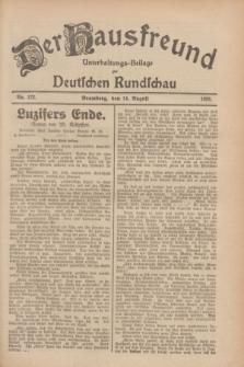 Der Hausfreund : Unterhaltungs-Beilage zur Deutschen Rundschau. 1928, Nr. 172 (14 August)