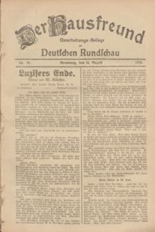 Der Hausfreund : Unterhaltungs-Beilage zur Deutschen Rundschau. 1928, Nr. 181 (25 August)