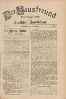 Der Hausfreund : Unterhaltungs-Beilage zur Deutschen Rundschau. 1928, Nr. 186 (31 August)
