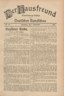 Der Hausfreund : Unterhaltungs-Beilage zur Deutschen Rundschau. 1928, Nr. 187 (1 September)