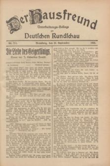 Der Hausfreund : Unterhaltungs-Beilage zur Deutschen Rundschau. 1928, Nr. 211 (29 September)