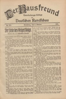 Der Hausfreund : Unterhaltungs-Beilage zur Deutschen Rundschau. 1928, Nr. 214 (3 October)