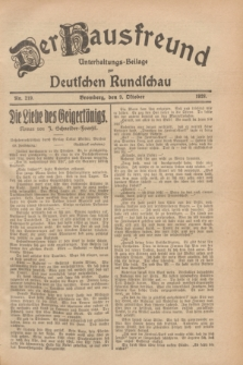 Der Hausfreund : Unterhaltungs-Beilage zur Deutschen Rundschau. 1928, Nr. 219 (9 October)
