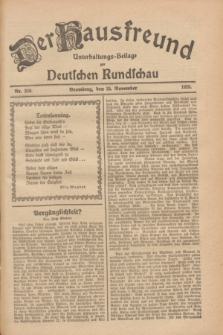 Der Hausfreund : Unterhaltungs-Beilage zur Deutschen Rundschau. 1928, Nr. 258 (25 November)