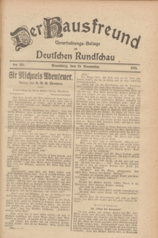 Der Hausfreund : Unterhaltungs-Beilage zur Deutschen Rundschau. 1928, Nr. 261 (29 November)