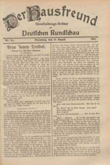 Der Hausfreund : Unterhaltungs-Beilage zur Deutschen Rundschau. 1929, Nr. 181 (10 August)