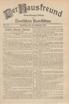 Der Hausfreund : Unterhaltungs-Beilage zur Deutschen Rundschau. 1929, Nr. 215 (21 September)