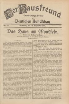 Der Hausfreund : Unterhaltungs-Beilage zur Deutschen Rundschau. 1929, Nr. 221 (28 September)