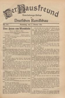 Der Hausfreund : Unterhaltungs-Beilage zur Deutschen Rundschau. 1929, Nr. 224 (2 Oktober)