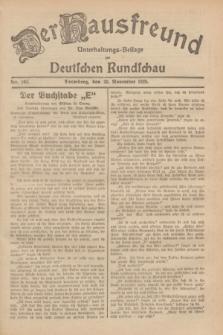 Der Hausfreund : Unterhaltungs-Beilage zur Deutschen Rundschau. 1929, Nr. 262 (20 November)