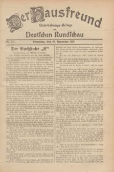Der Hausfreund : Unterhaltungs-Beilage zur Deutschen Rundschau. 1929, Nr. 271 (29 November)
