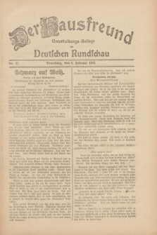 Der Hausfreund : Unterhaltungs-Beilage zur Deutschen Rundschau. 1930, Nr. 32 (8 Februar)