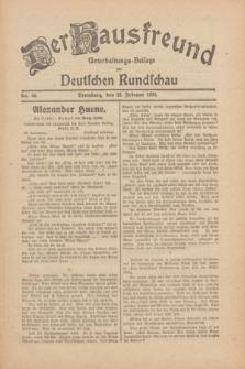 Der Hausfreund : Unterhaltungs-Beilage zur Deutschen Rundschau. 1930, Nr. 49 (28 Februar)