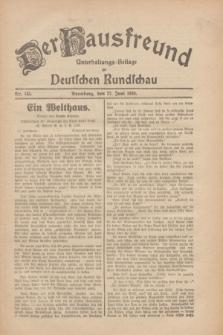 Der Hausfreund : Unterhaltungs-Beilage zur Deutschen Rundschau. 1930, Nr. 145 (27 Juni)