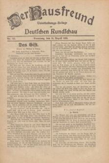 Der Hausfreund : Unterhaltungs-Beilage zur Deutschen Rundschau. 1930, Nr. 183 (10 August)
