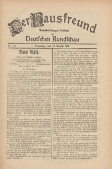 Der Hausfreund : Unterhaltungs-Beilage zur Deutschen Rundschau. 1930, Nr. 184 (12 August)