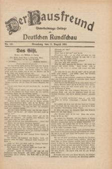 Der Hausfreund : Unterhaltungs-Beilage zur Deutschen Rundschau. 1930, Nr. 185 (13 August)