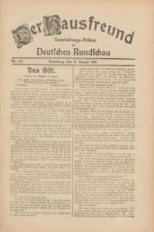 Der Hausfreund : Unterhaltungs-Beilage zur Deutschen Rundschau. 1930, Nr. 187 (15 August)