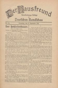 Der Hausfreund : Unterhaltungs-Beilage zur Deutschen Rundschau. 1930, Nr. 210 (12 September)