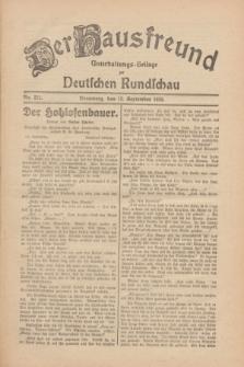 Der Hausfreund : Unterhaltungs-Beilage zur Deutschen Rundschau. 1930, Nr. 211 (13 September)