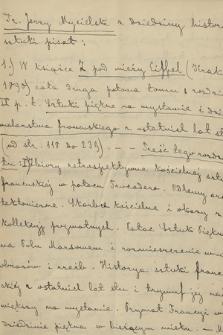 Uwagi Jerzego Mycielskiego o własnych pracach z dziedziny historii sztuki, z lat 1883-1892