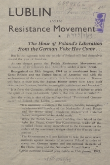 Lublin and the Resistance Movement : the hour of Poland's Liberation from the German yoke has come....