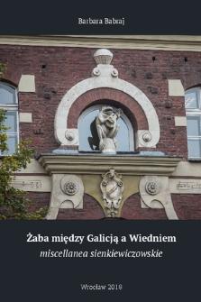 Żaba między Galicją a Wiedniem : miscellanea sienkiewiczowskie