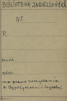[Wzór karty zapisu do Czytelni i Wypożyczalni Biblioteki Jagiellońskiej]