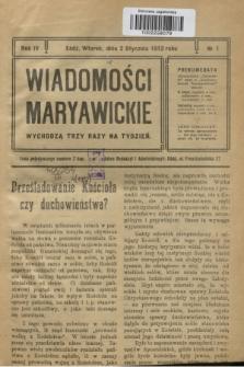 Wiadomości Maryawickie. R.4, № 1 (2 stycznia 1912)