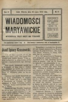 Wiadomości Maryawickie. R.4, № 91 (30 lipca 1912)