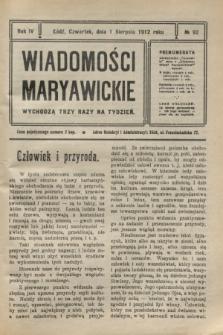 Wiadomości Maryawickie. R.4, № 92 (1 sierpnia 1912)