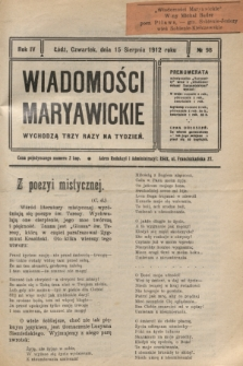 Wiadomości Maryawickie. R.4, № 98 (15 sierpnia 1912)