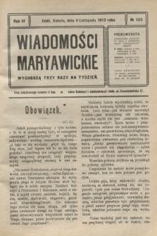 Wiadomości Maryawickie. R.4, № 135 (9 listopada 1912)