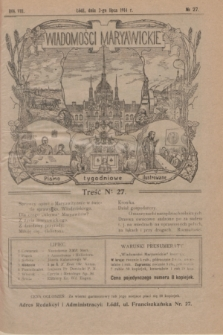 Wiadomości Maryawickie : pismo tygodniowe ilustrowane. R.8, № 27 (2 lipca 1914)