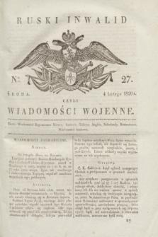 Ruski Inwalid : czyli wiadomości wojenne. 1820, № 27 (4 lutego)