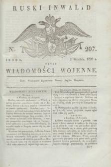 Ruski Inwalid : czyli wiadomości wojenne. 1820, № 207 (1 września)