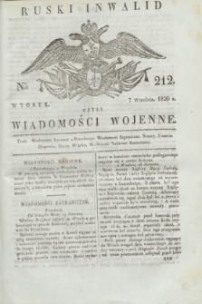 Ruski Inwalid : czyli wiadomości wojenne. 1820, № 212 (7 września)