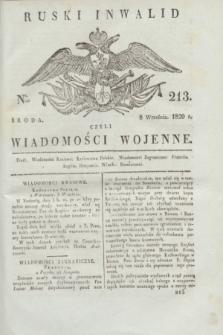 Ruski Inwalid : czyli wiadomości wojenne. 1820, № 213 (8 września)